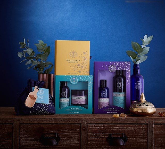Neal's Yard products on a chest of drawers