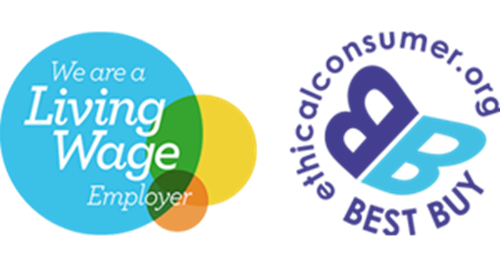 Living wage employer and ethical best buy logos