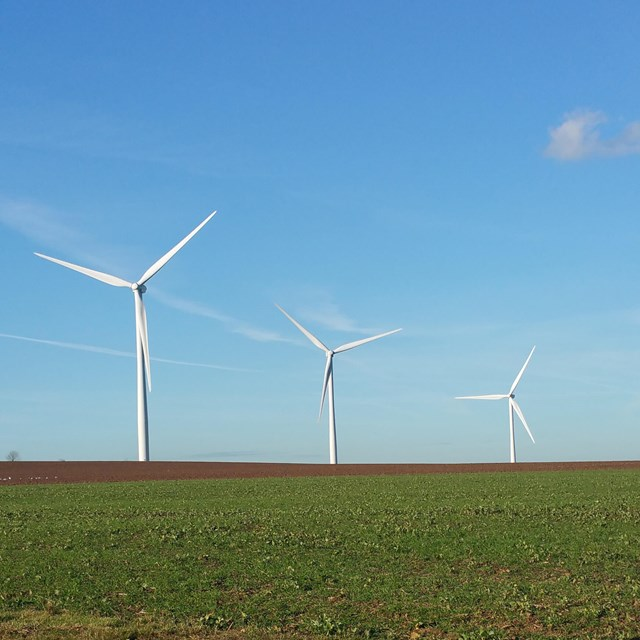 Three wind turbines
